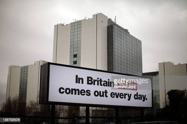 Billboards outside the News International buildings in Wapping advertise the new Sun on Sunday which is to launch this weekend on February 24, 2012...