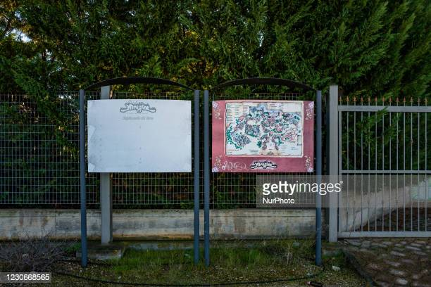 Billboards with the map of the Miragica amusement park in a state of abandonment after the bankruptcy, in Molfetta, Italy on 19 January 2021....
