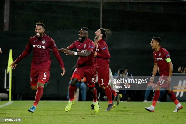 Billel Omrani of CFR Cluj celebrates a second goal with his team mates during the UEFA Europa League group E match between CFR Cluj and Lazio Roma at...