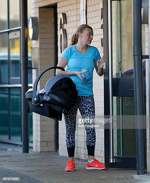 Billi Mucklow seen taking her son to the gym then later to the local supermarket on October 4 2015 in Loughton Essex