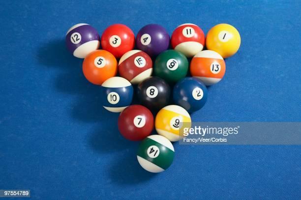 Billiard balls arranged on table