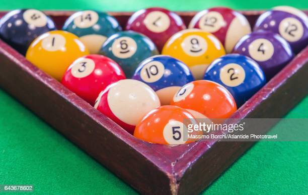 Billiard balls racked up on a billiard table