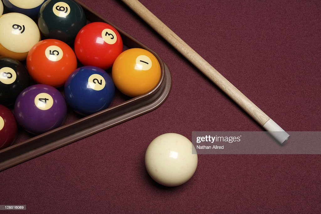 Billiard Pool Table With Cue Stick Triangle And Balls : Stock Photo