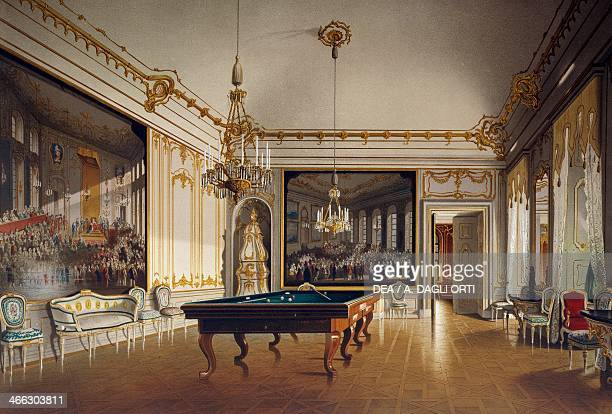Billiard room in the Imperial Apartments Schoenbrunn Palace Vienna Austria print 19th century