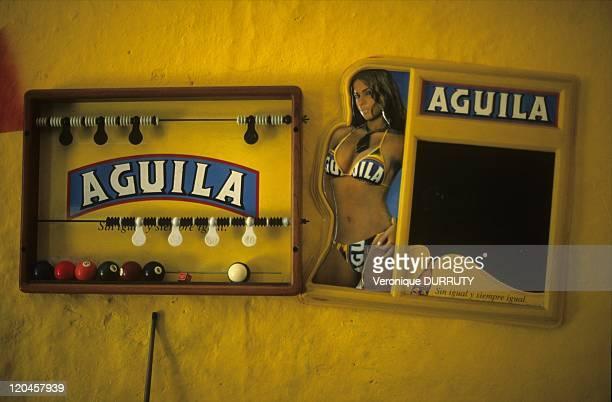 Billiards Room in Barichara Santander Colombia Aguila is a major beer brand in Colombia