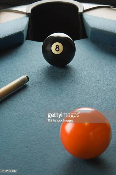 Billiards table with eightball