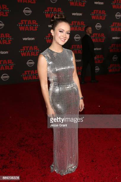 Billie Catherine Lourd at the world premiere of Lucasfilm's Star Wars The Last Jedi at The Shrine Auditorium on December 9 2017 in Los Angeles...