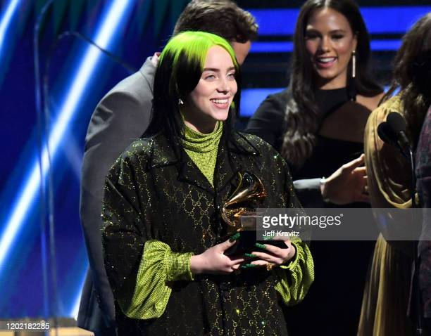 Billie Eilish accepts Song of the Year for 'Bad Guy' onstage during the 62nd Annual GRAMMY Awards at Staples Center on January 26 2020 in Los Angeles...