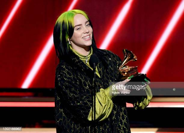 Billie Eilish accepts the Best New Artist award onstage during the 62nd Annual GRAMMY Awards at STAPLES Center on January 26, 2020 in Los Angeles,...