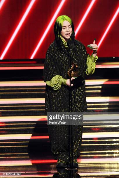 Billie Eilish accepts the Best New Artist award onstage during the 62nd Annual GRAMMY Awards at STAPLES Center on January 26 2020 in Los Angeles...