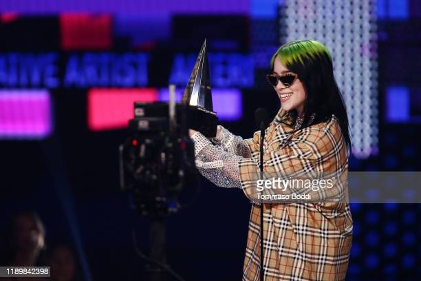 Billie Eilish accepts the Favorite Artist Alternative Rock award onstage during the 2019 American Music Awards at Microsoft Theater on November 24...