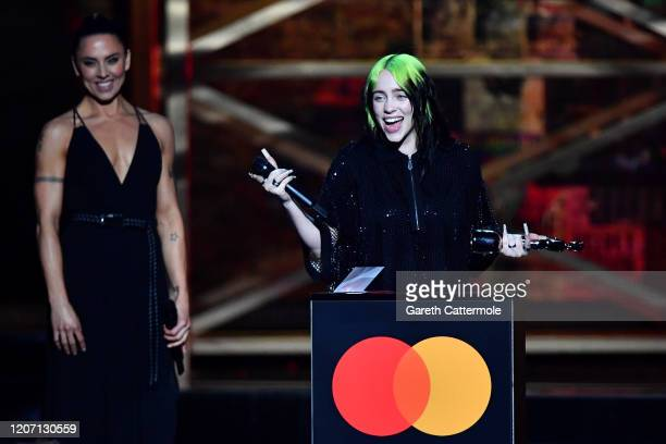 Billie Eilish accepts the International Female Solo Artist award during The BRIT Awards 2020 at The O2 Arena on February 18, 2020 in London, England.