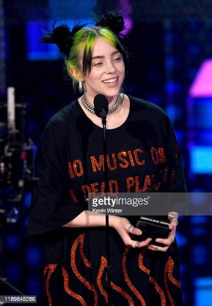 Billie Eilish accepts the New Artist of the Year award onstage during the 2019 American Music Awards at Microsoft Theater on November 24 2019 in Los...