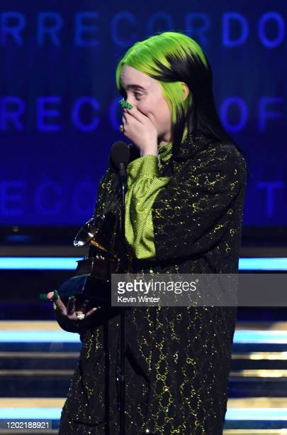 Billie Eilish accepts the Record of the Year award for 'Bad Guy' onstage during the 62nd Annual GRAMMY Awards at STAPLES Center on January 26 2020 in...