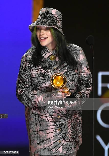 Billie Eilish accepts the Record of the Year award for 'Everything I Wanted' onstage during the 63rd Annual GRAMMY Awards at Los Angeles Convention...
