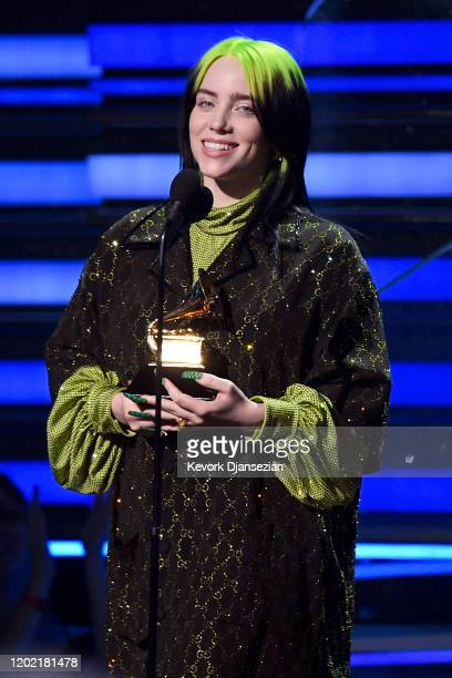 Billie Eilish accepts the Song of the Year award for 'Bad Guy' onstage during the 62nd Annual GRAMMY Awards at Staples Center on January 26 2020 in...