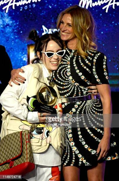 Billie Eilish accepts the Vanguard Award from Julia Roberts onstage 36th Annual ASCAP Pop Music Awards at The Beverly Hilton Hotel on May 16 2019 in...