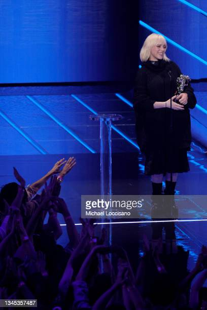 Billie Eilish accepts the Video for Good award for 'Your Power' onstage during the 2021 MTV Video Music Awards at Barclays Center on September 12,...