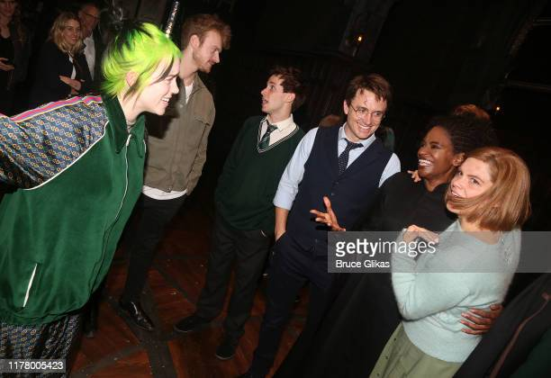 Billie Eilish and brother Finneas O'Connell chat backstage with the cast at Harry Potter and The Cursed Child Parts 1 2 on Broadway at The Lyric...