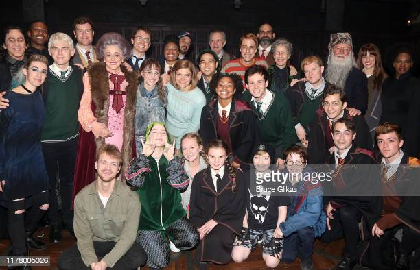 Billie Eilish and brother Finneas O'Connell pose with the cast backstage at Harry Potter and The Cursed Child Parts 1 2 on Broadway at The Lyric...