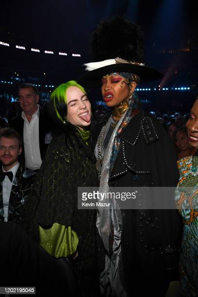 Billie Eilish and Erykah Badu during the 62nd Annual GRAMMY Awards at STAPLES Center on January 26 2020 in Los Angeles California
