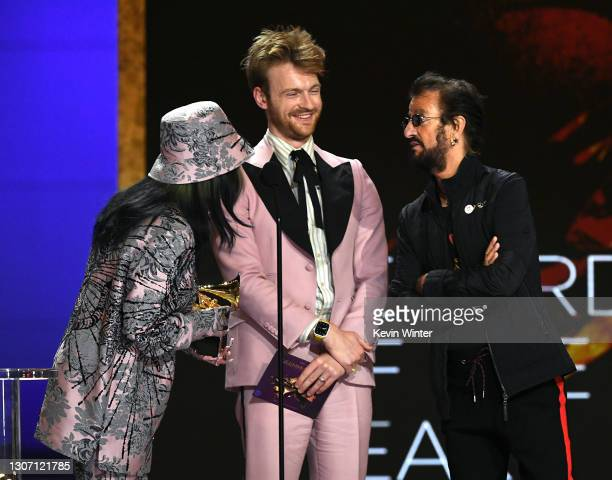Billie Eilish and FINNEAS accept the Record of the Year award for 'Everything I Wanted' from Ringo Starr onstage during the 63rd Annual GRAMMY Awards...