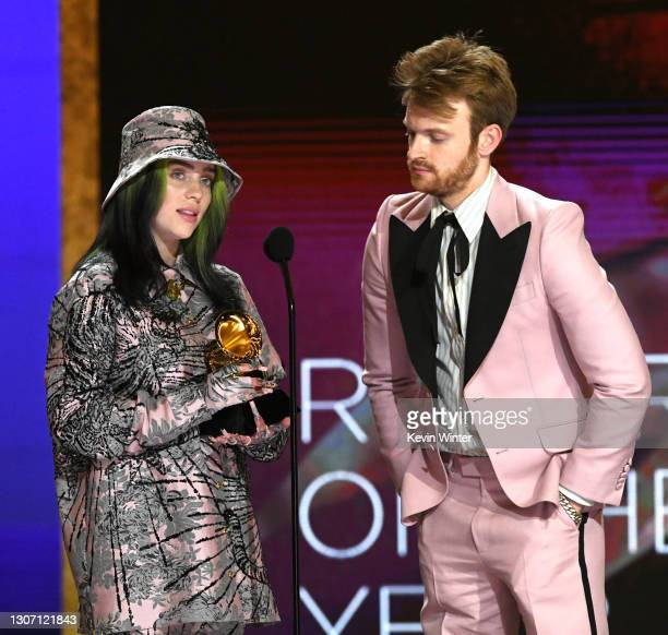 Billie Eilish and FINNEAS accept the Record of the Year award for 'Everything I Wanted' onstage during the 63rd Annual GRAMMY Awards at Los Angeles...