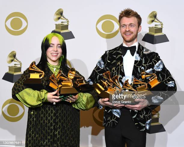 Billie Eilish and Finneas O'Connel poses at the 62nd Annual GRAMMY Awards at Staples Center on January 26 2020 in Los Angeles California