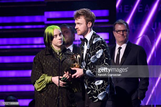 Billie Eilish and Finneas O'Connell accept Album of the Year for When We All Fall Asleep Where Do We Go onstage during the 62nd Annual GRAMMY Awards...