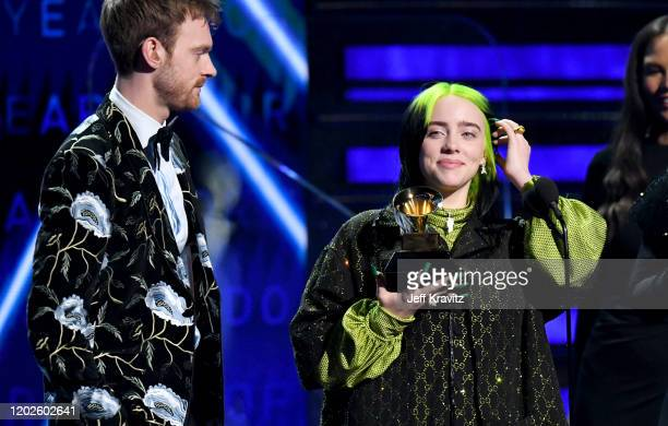 Billie Eilish and Finneas O'Connell accept Record of the Year for Bad Guy onstage during the 62nd Annual GRAMMY Awards at Staples Center on January...