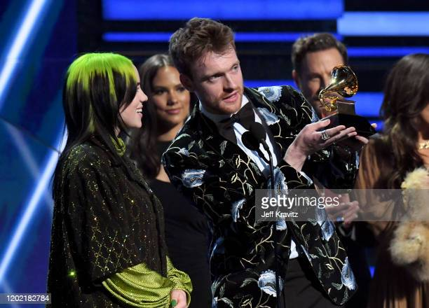 Billie Eilish and Finneas O'Connell accept Song of the Year for 'Bad Guy' onstage during the 62nd Annual GRAMMY Awards at Staples Center on January...