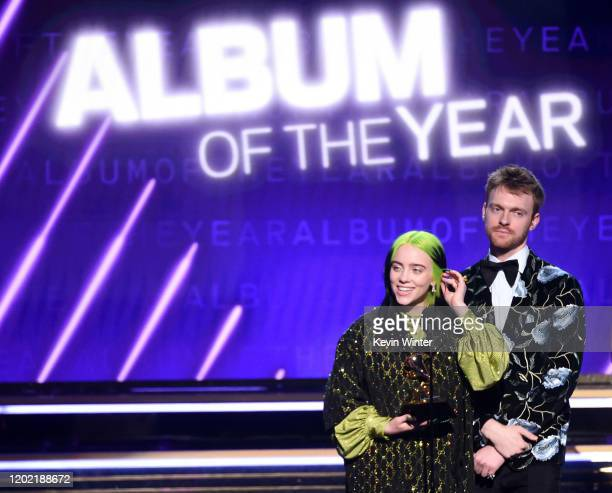 Billie Eilish and Finneas O'Connell accept the Album of the Year for When We All Fall Asleep Where Do We Go onstage during the 62nd Annual GRAMMY...