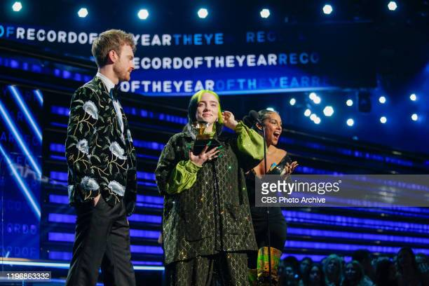 Billie Eilish and Finneas O'Connell accept the award for Record of the Year at THE 62ND ANNUAL GRAMMY® AWARDS broadcast live from the STAPLES Center...
