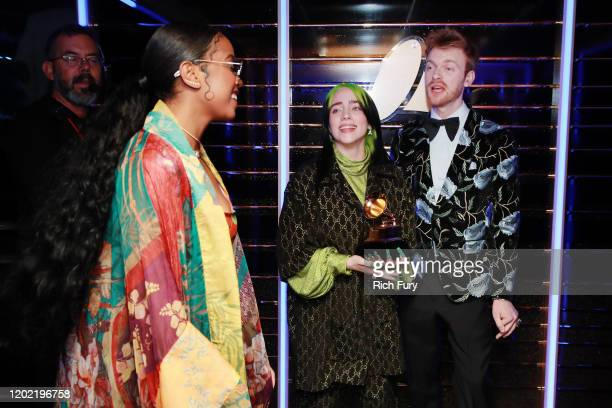 HER Billie Eilish and Finneas O'Connell attend the 62nd Annual GRAMMY Awards at STAPLES Center on January 26 2020 in Los Angeles California