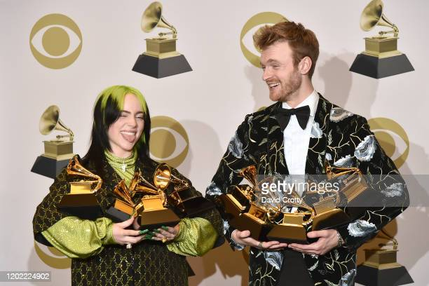 Billie Eilish and Finneas O'Connell attend the 62nd Annual Grammy Awards Press Room at Staples Center on January 26 2020 in Los Angeles California