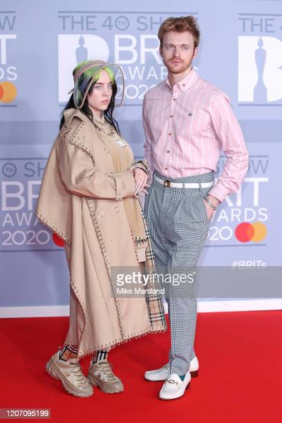 Billie Eilish and Finneas O'Connell attend The BRIT Awards 2020 at The O2 Arena on February 18 2020 in London England