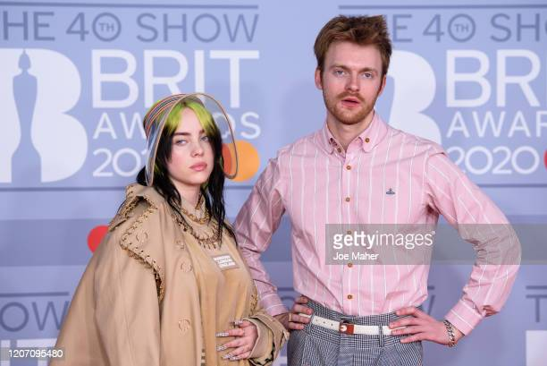 Billie Eilish and Finneas O'Connell attend The BRIT Awards 2020 at The O2 Arena on February 18, 2020 in London, England.