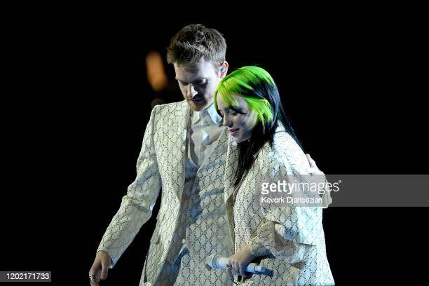 Billie Eilish and Finneas O'Connell onstage during the 62nd Annual GRAMMY Awards at Staples Center on January 26 2020 in Los Angeles California
