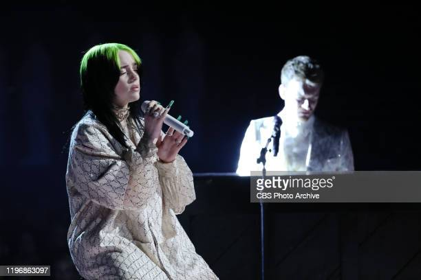 Billie Eilish and Finneas O'Connell perform at THE 62ND ANNUAL GRAMMY® AWARDS broadcast live from the STAPLES Center in Los Angeles Sunday January 26...