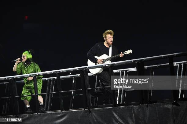 Billie Eilish and Finneas O'Connell perform live on stage at Billie Eilish Where Do We Go World Tour Kick Off Miami at American Airlines Arena on...