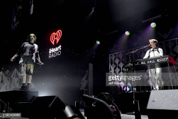 Billie Eilish and Finneas O'Connell perform onstage during 102.7 KIIS FM's Jingle Ball 2019 Presented by Capital One at the Forum on December 6, 2019...