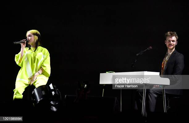 Billie Eilish and Finneas O'Connell perform onstage during Spotify Hosts Best New Artist Party at The Lot Studios on January 23 2020 in Los Angeles...