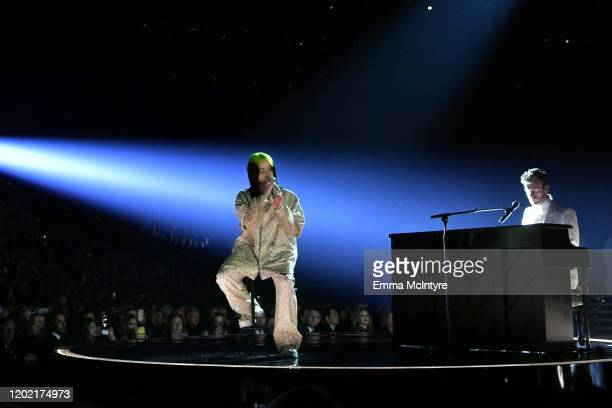 Billie Eilish and Finneas O'Connell perform onstage during the 62nd Annual GRAMMY Awards at STAPLES Center on January 26 2020 in Los Angeles...