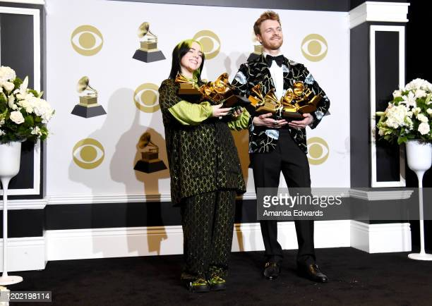 Billie Eilish and Finneas O'Connell pose in the press room during the 62nd Annual GRAMMY Awards at Staples Center on January 26 2020 in Los Angeles...