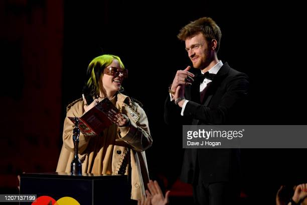 Billie Eilish and Finneas O'Connell present at The BRIT Awards 2020 at The O2 Arena on February 18 2020 in London England