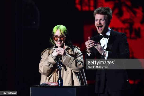 Billie Eilish and Finneas O'Connell present Mastercard Album of The Yearduring The BRIT Awards 2020 at The O2 Arena on February 18 2020 in London...