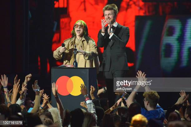 Billie Eilish and Finneas O'Connell present Mastercard Album of The Year during The BRIT Awards 2020 at The O2 Arena on February 18 2020 in London...