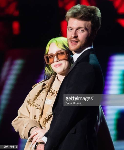 Billie Eilish and Finneas O'Connell present Mastercard Album of the Year during The BRIT Awards 2020 at The O2 Arena on February 18, 2020 in London,...
