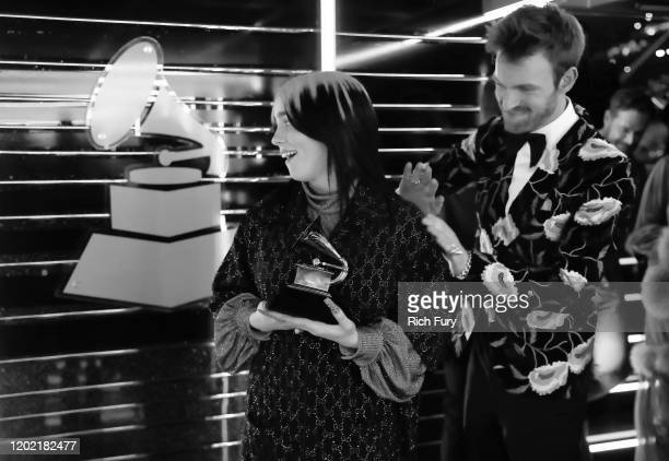 Billie Eilish and Finneas O'Connell winners of the Song of the Year award for 'Bad Guy' attend the 62nd Annual GRAMMY Awards at STAPLES Center on...