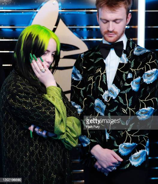 Billie Eilish and Finneas O'Connell winners of the Song of the Year and Record of the Year award celebrate during the 62nd Annual GRAMMY Awards at...